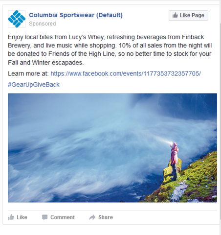 "Columbia Sportswear ""Gear Up Give Back"""