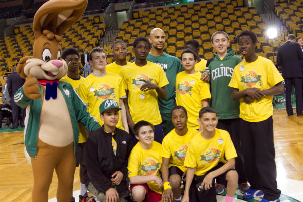3-26-14-BOSTON, MA Nesquik at TD Garden  Boston Celtics point guard Jerryd Bayless with kids from Boston area Boys and Girls Clubs